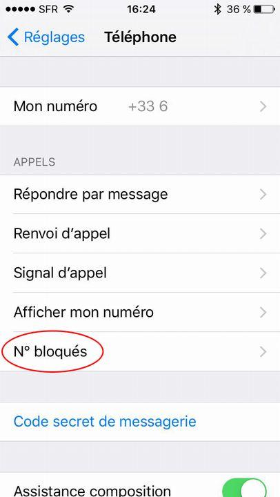 Bloque contact iPhone