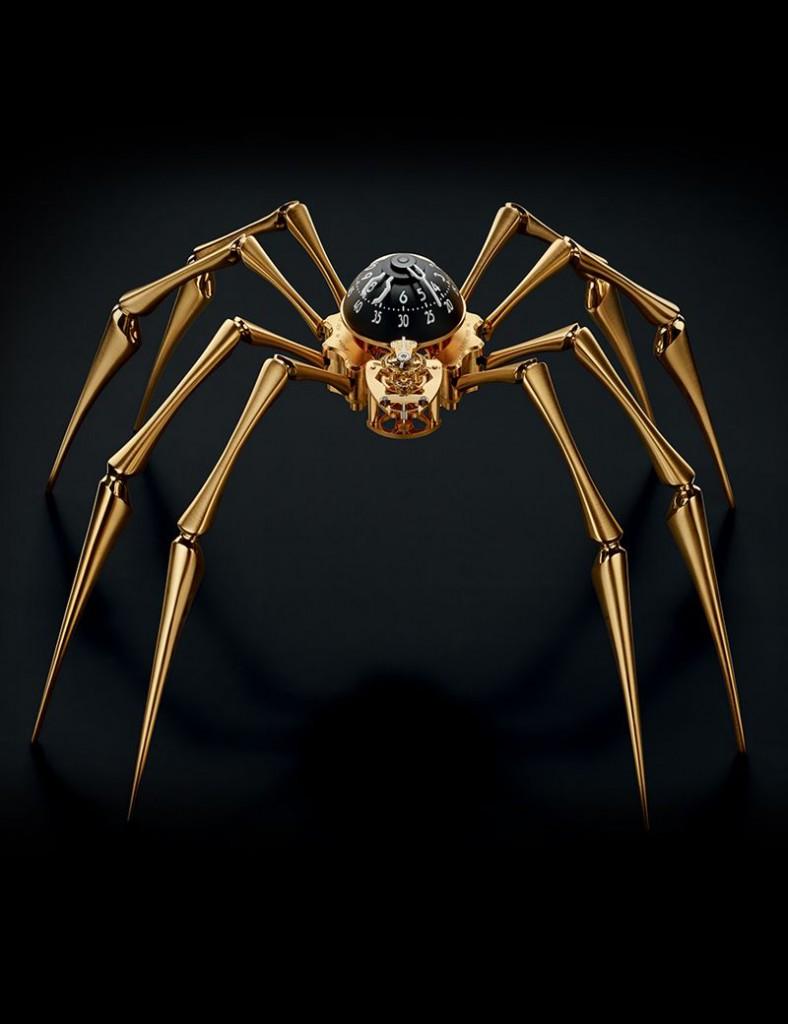 Arachnophobia Clock Gold