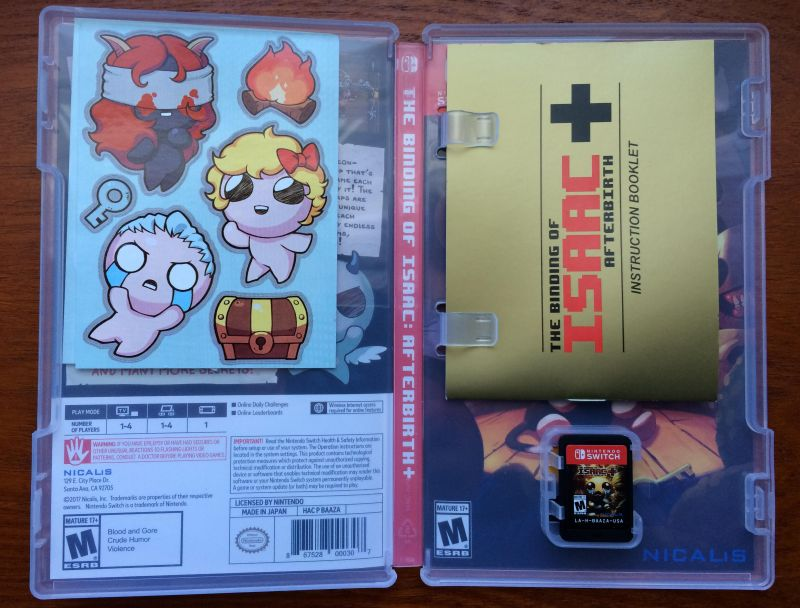 Les jeux Switch avec notice Binding-Isaac-Switch