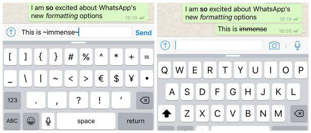 whatsapp changer police gras souligné barré