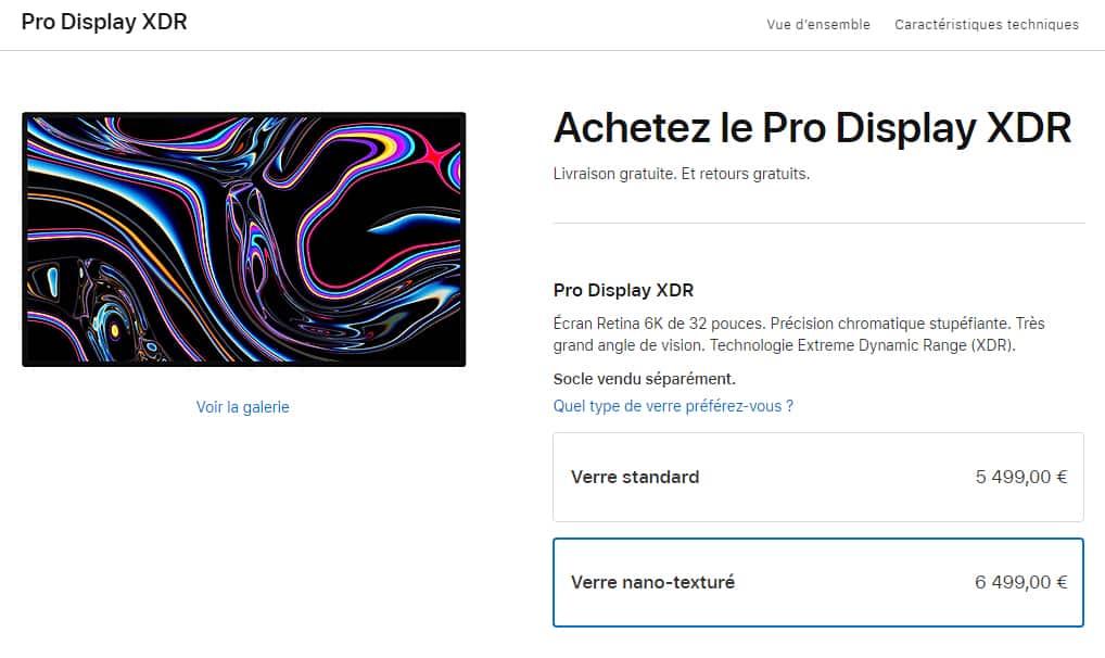 Prix nouveau Pro Display XDR Apple