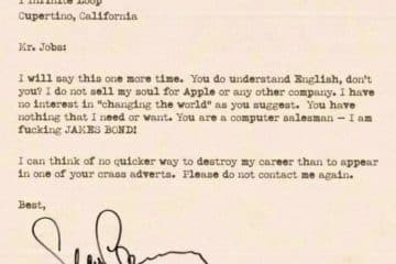 Lettre Sean Connery Steve Jobs Apple
