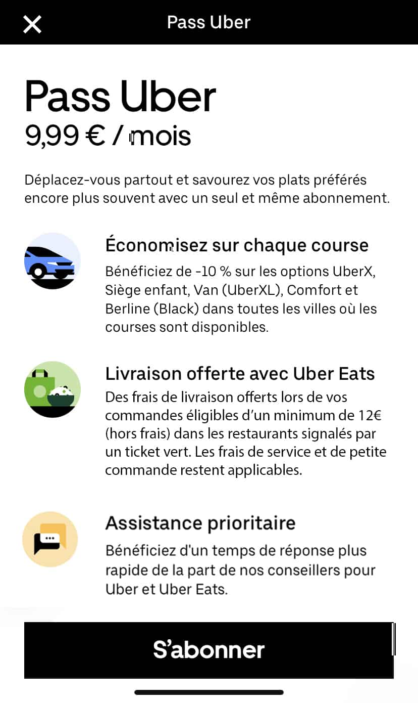 Prix abonnement Pass Uber